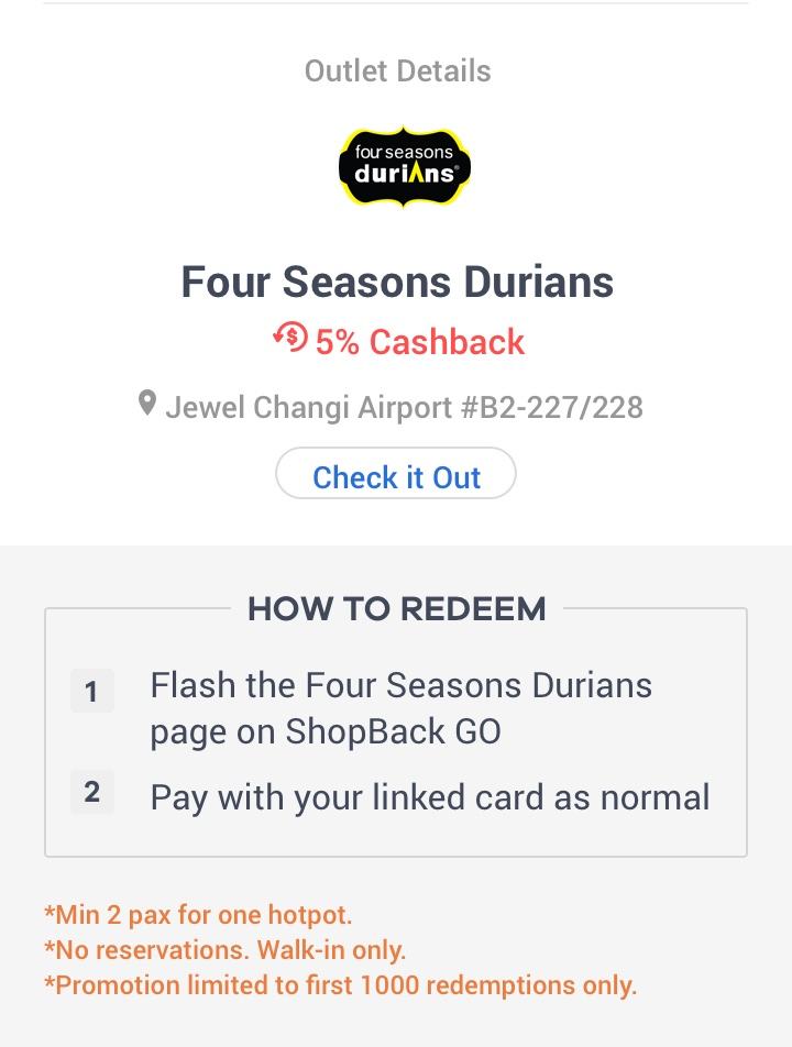ShopBack GO Exclusive - $1 Durian Hotpot