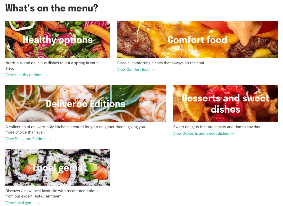 Types of food available on Deliveroo