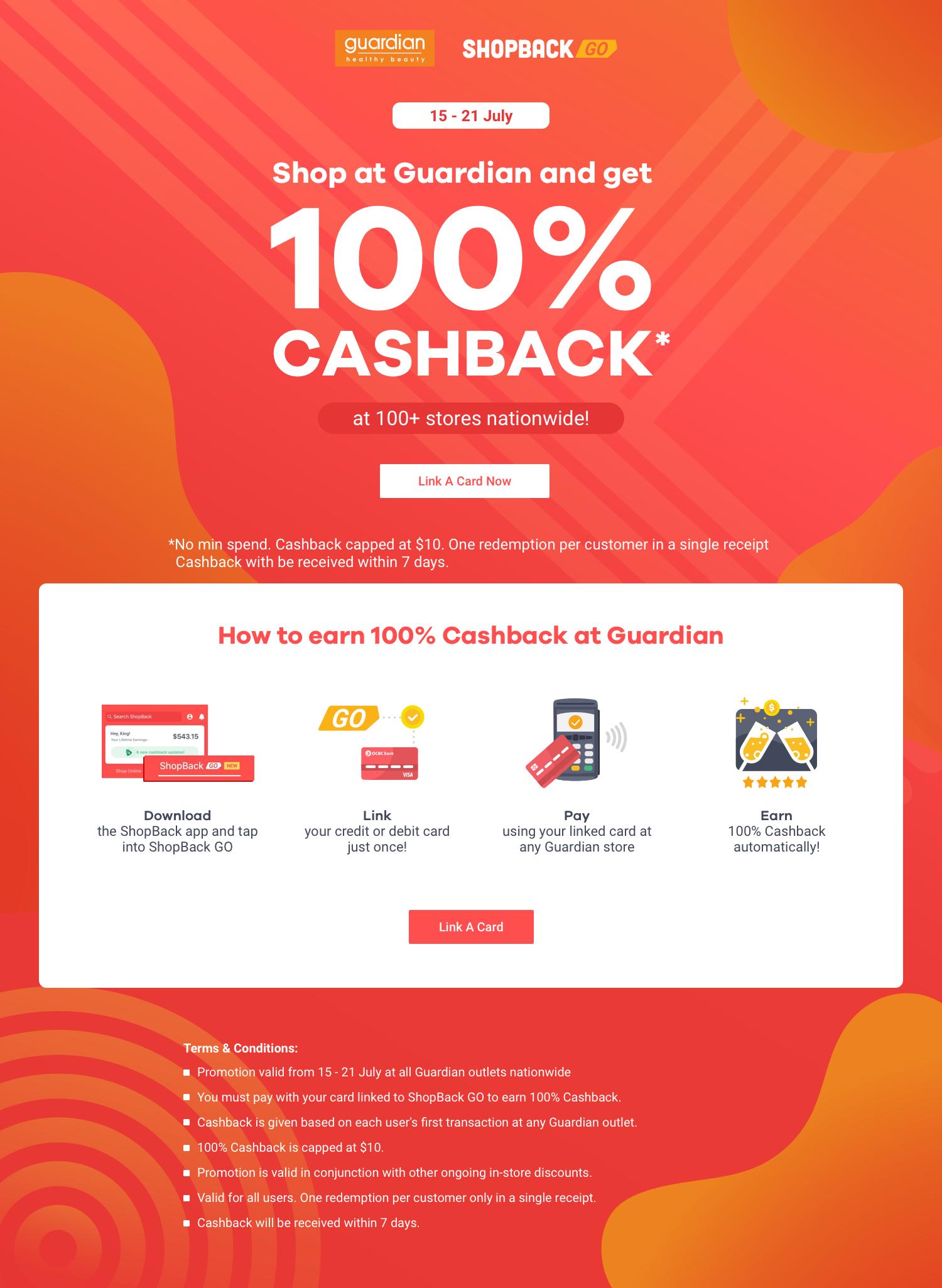 ShopBack GO x Guardian: 100% Cashback*