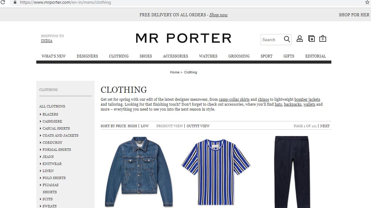 Mr Porter clothing