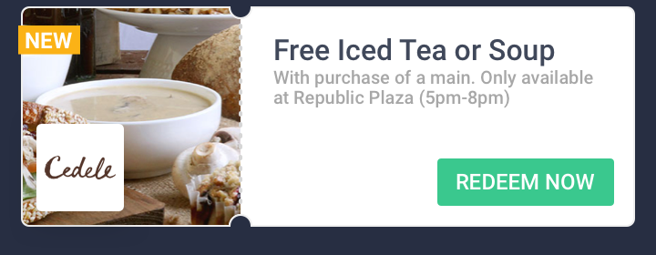Free Iced Tea or Soup at Cedele Bakery Cafe