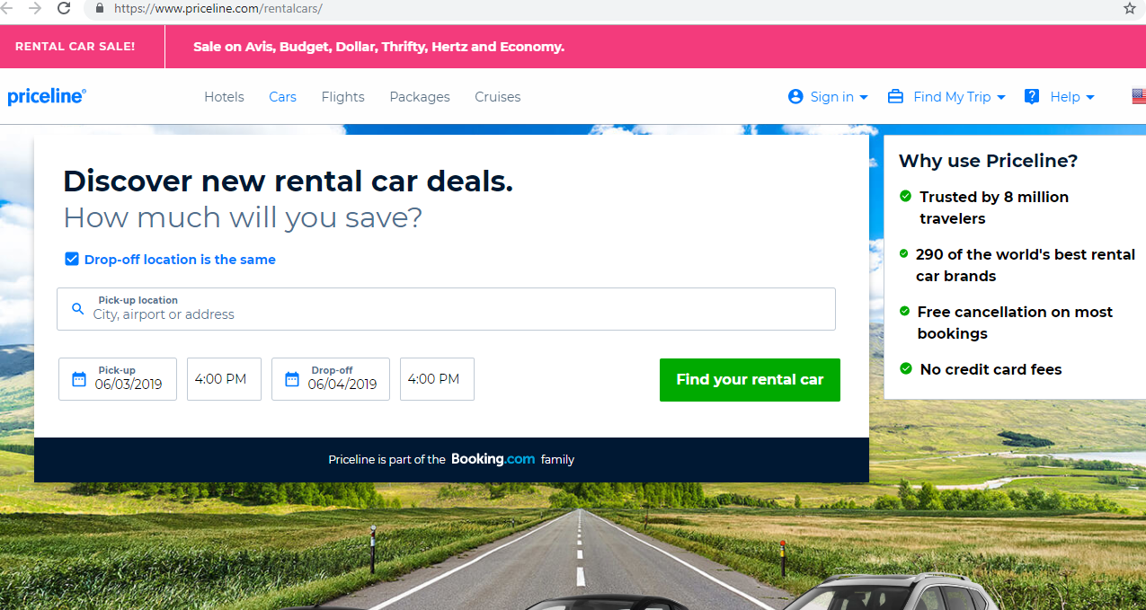 Search engine for deals on rental cars.