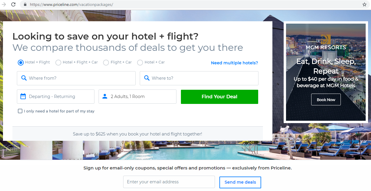 Search engine for deals on hotel, flight and car combinations.