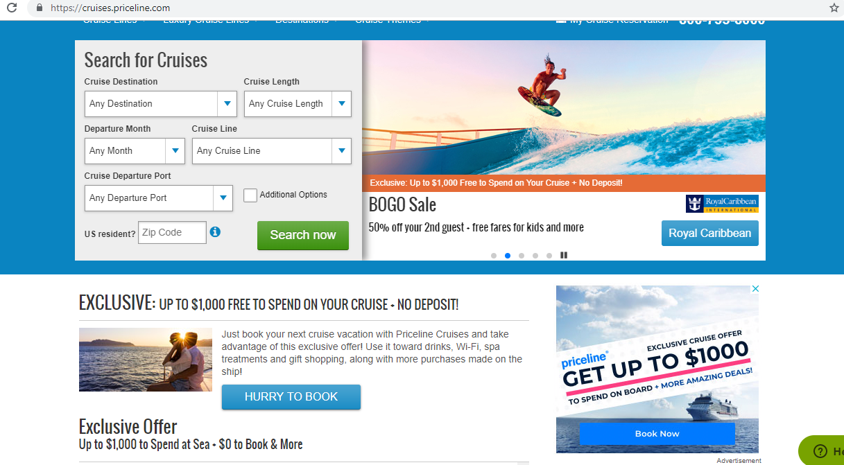 Search engine for cruises.
