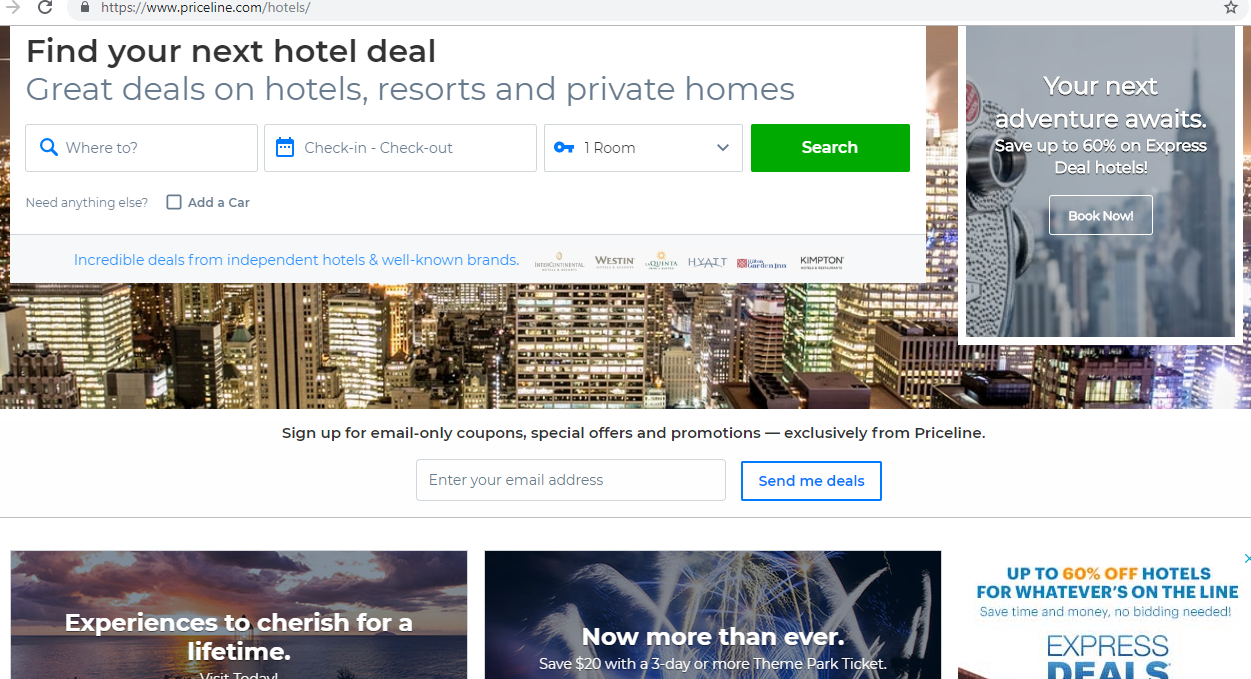 Search engine for deals on hotels, resorts and private homes.