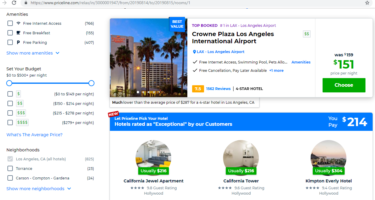 Search results for hotels.