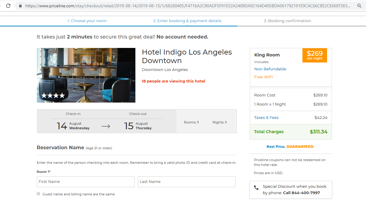 Booking page with a cost breakdown for a hotel room stay.