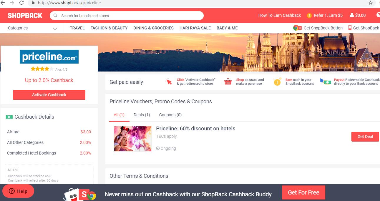 Priceline page on the ShopBack website.