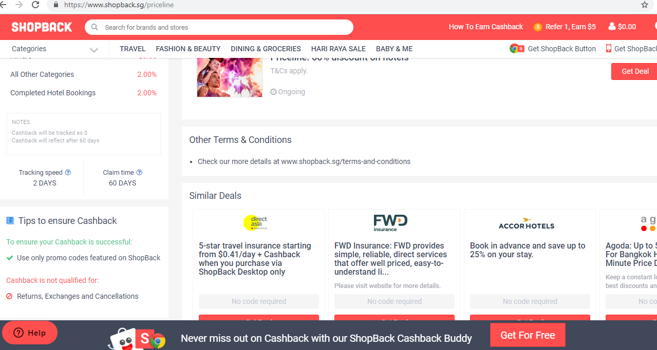 Terms & Conditions for a selected deal.