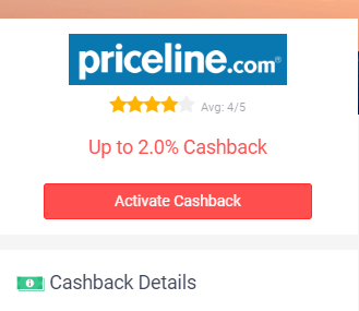 Button to activate cashback.