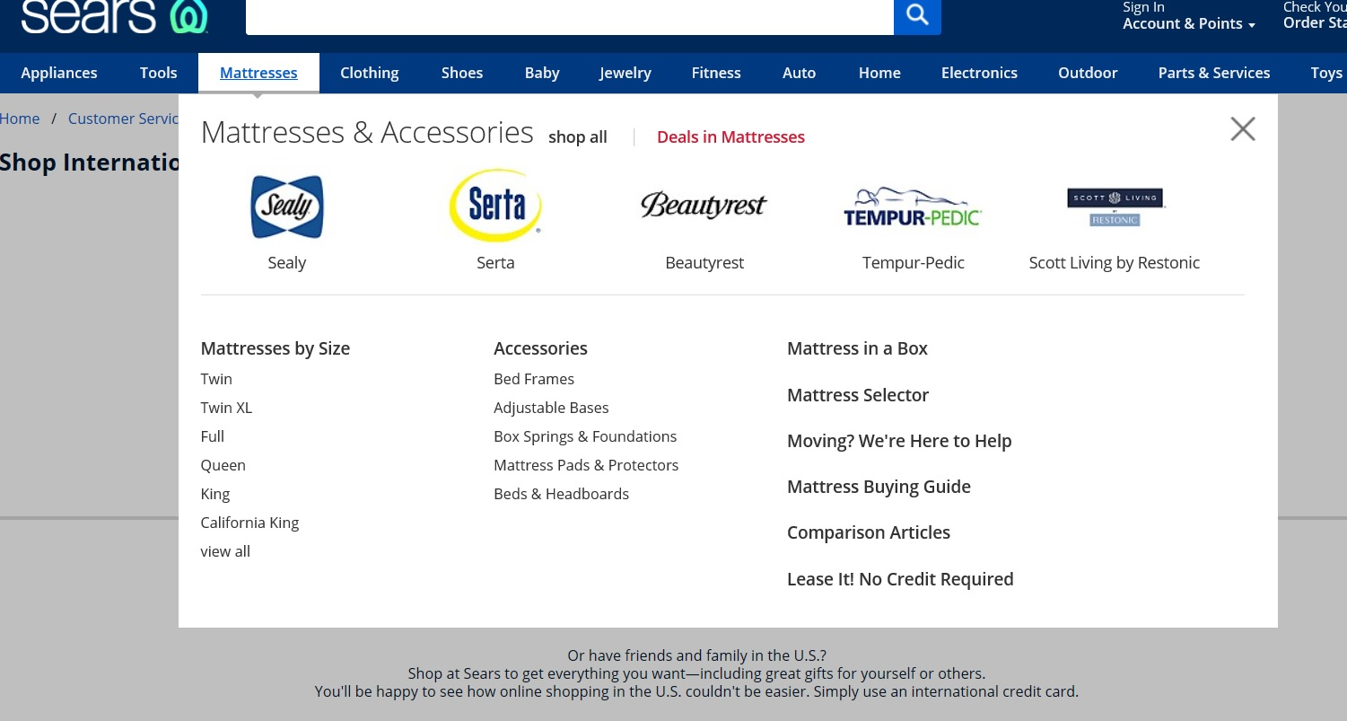Dropdown menu for mattresses and accessories.