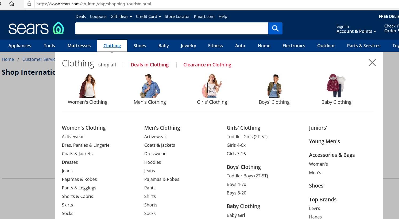Dropdown menu of various clothing categories.