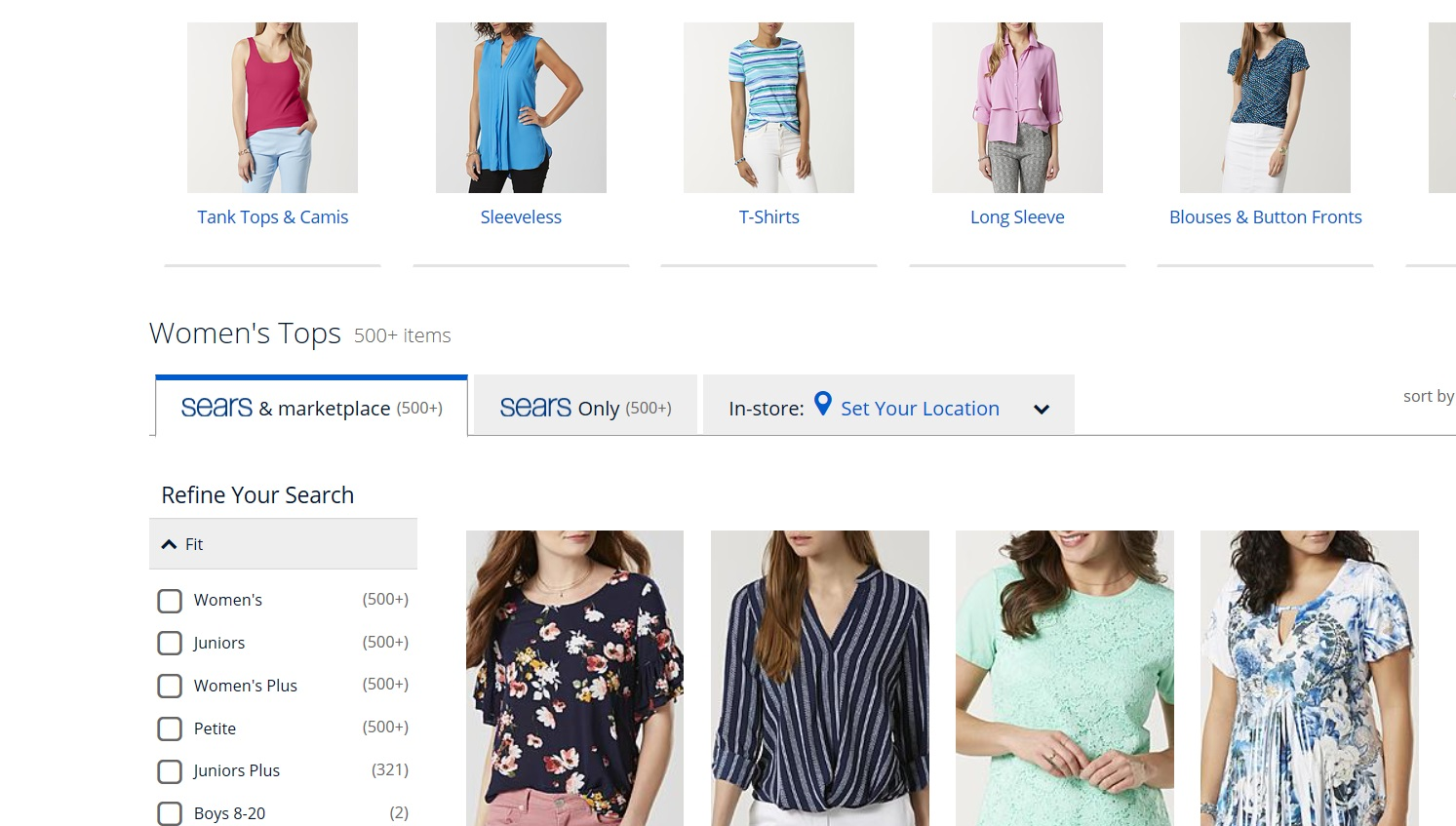 Search results for women s tops.