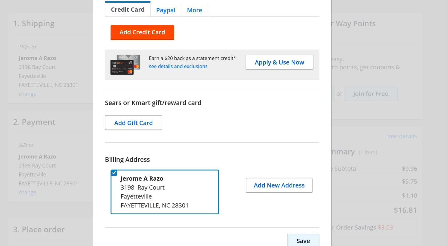 Page to add a credit card, PayPal or a gift card.