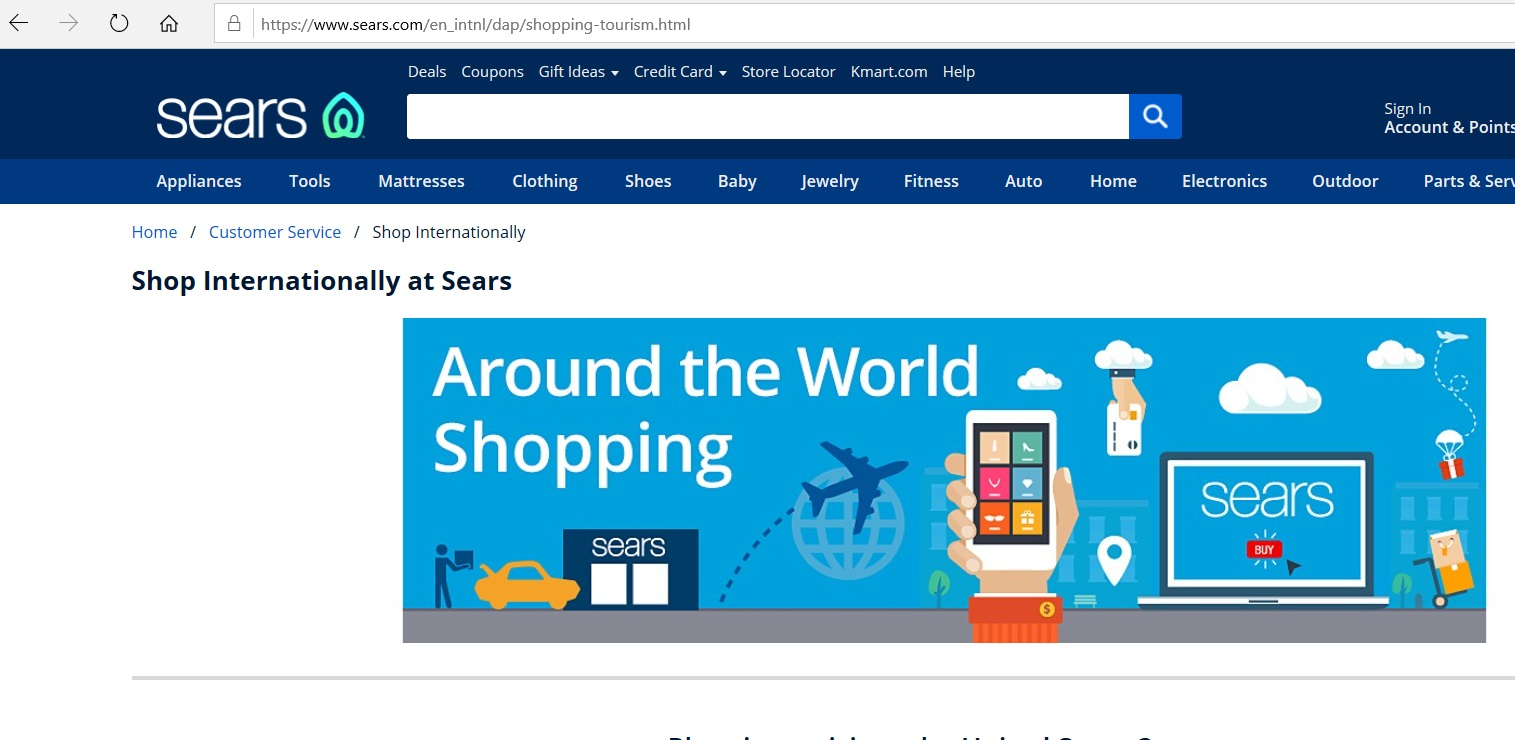 International shipping information on the Sears website.