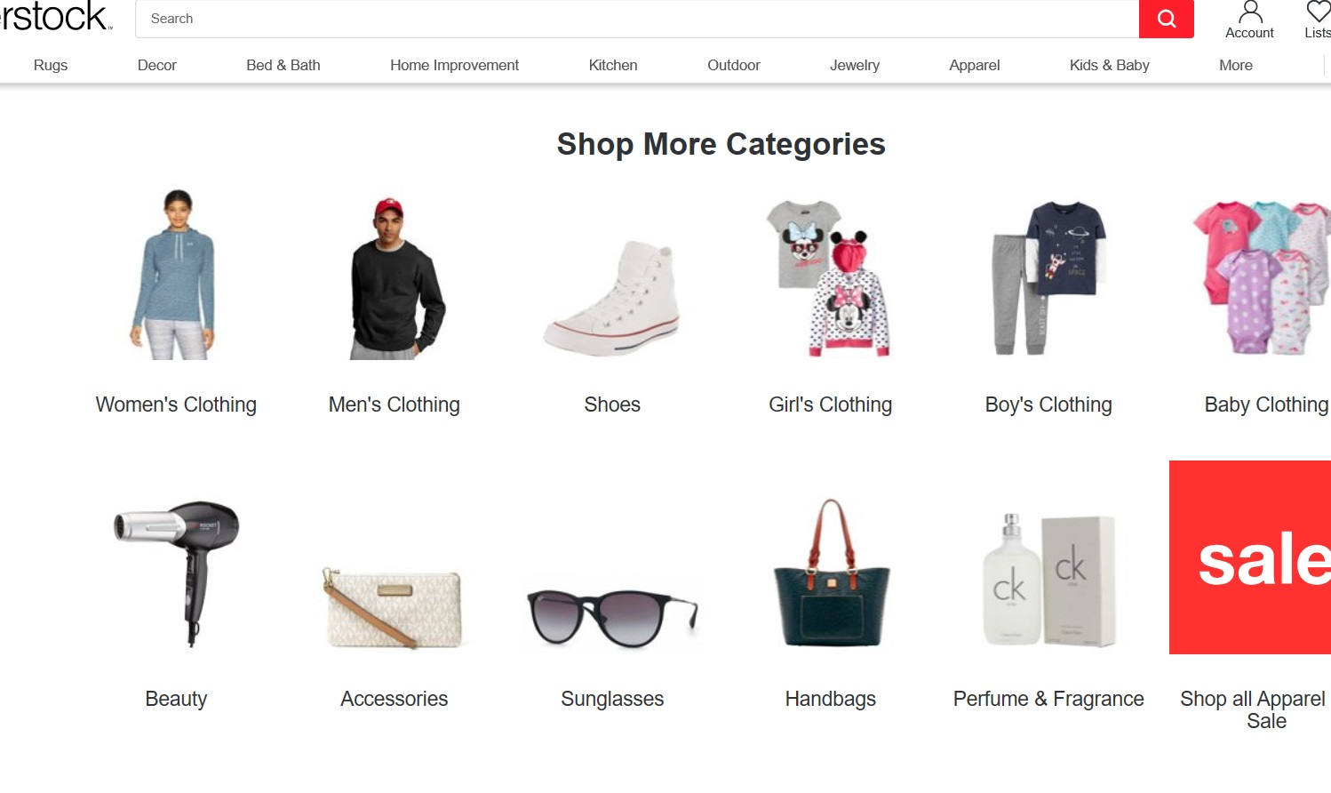 Page displaying different product categories.