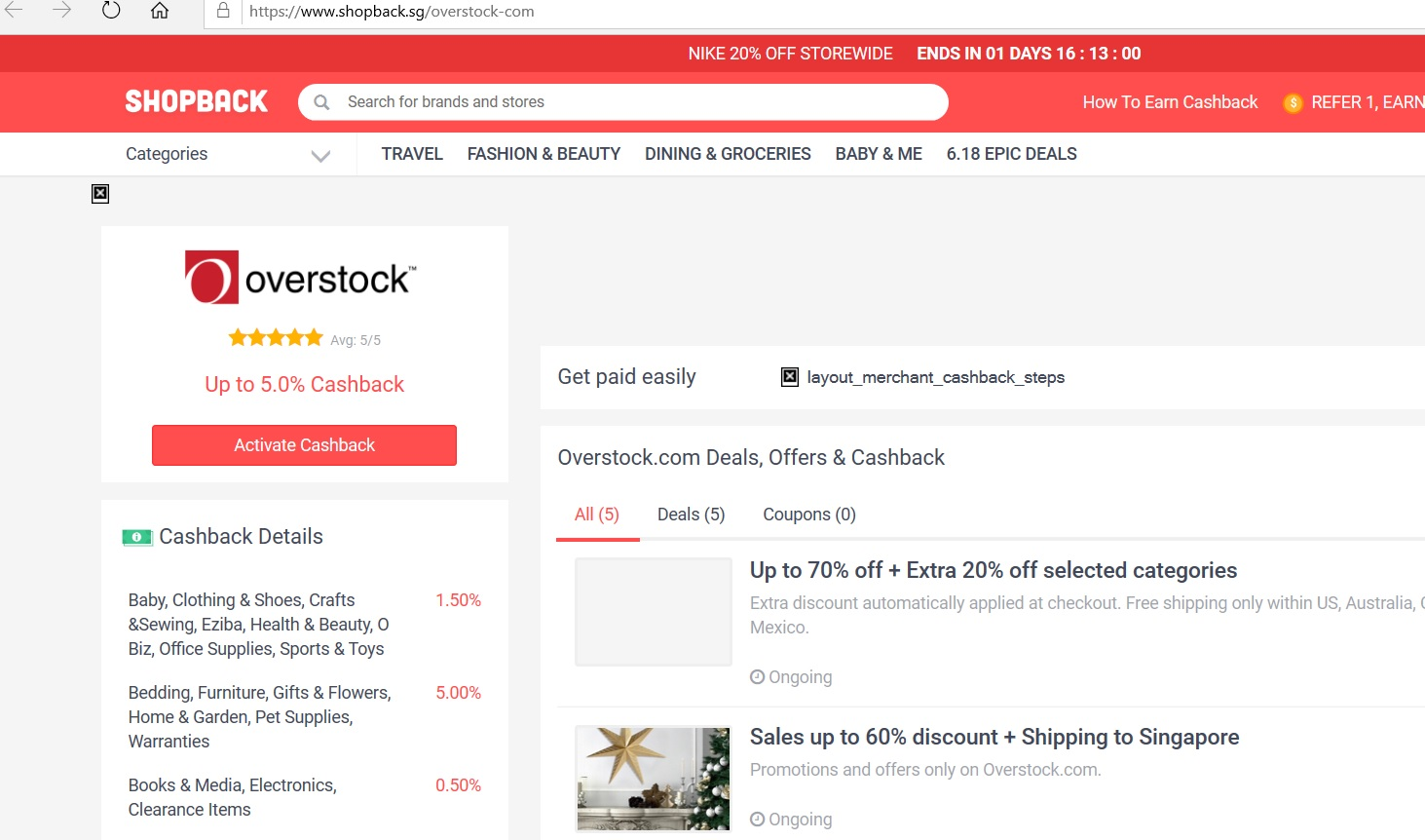 Overstock page on the ShopBack website.