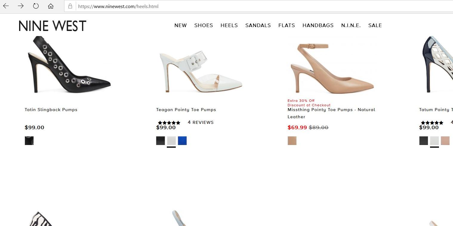 Nine West online catalogue for women s heels.