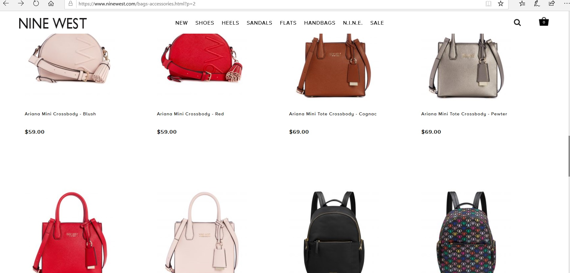 Nine West online catalogue for women s bags and accessories.
