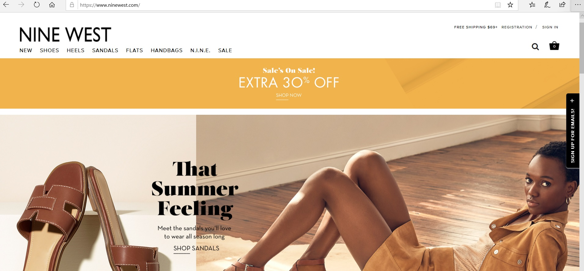 Nine West website homepage with product categories.