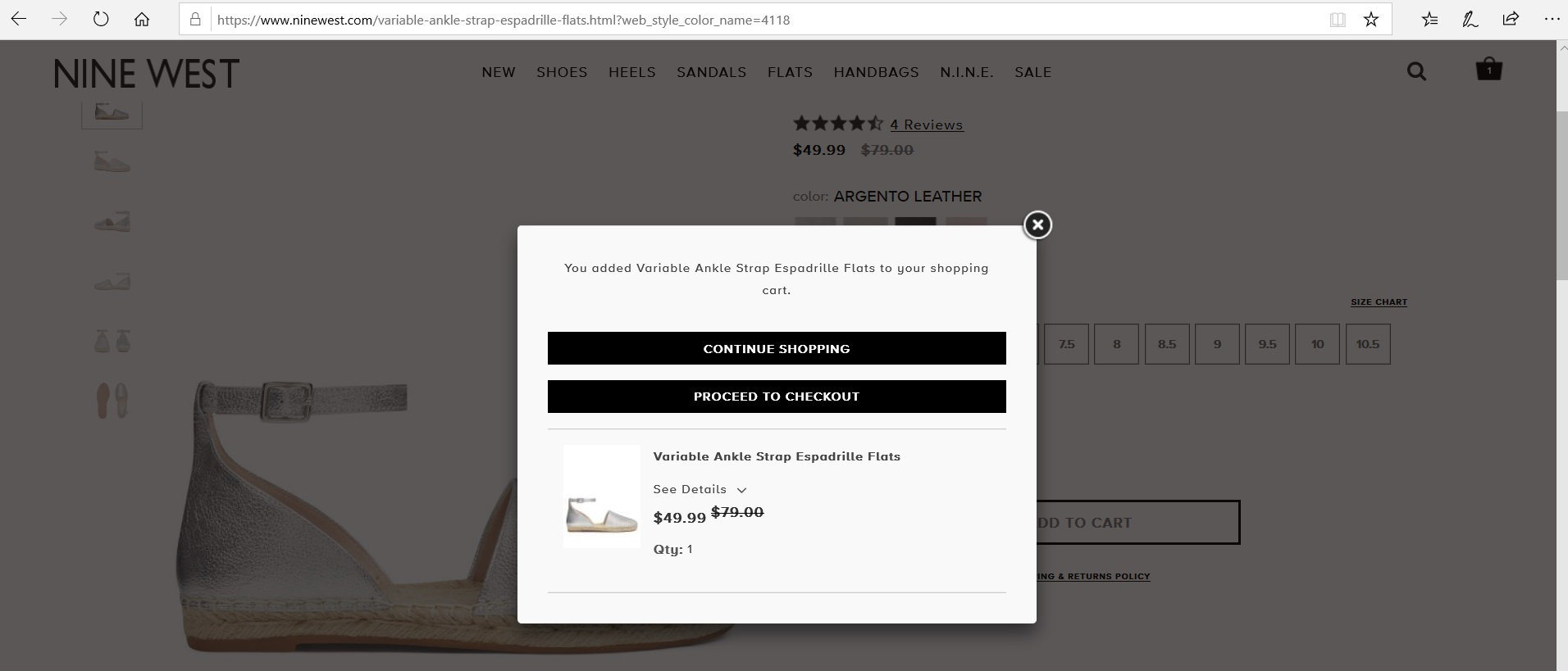 Pop-up to continue shopping or proceed to checkout.