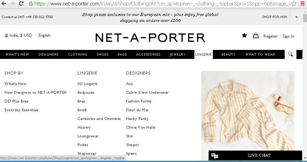 Dropdown of product categories for lingerie.