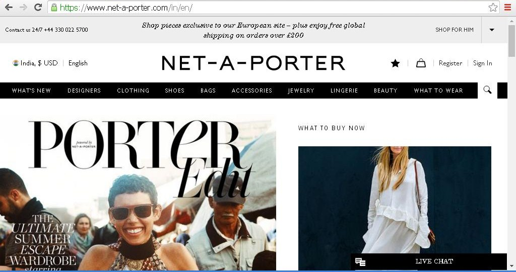 NET-A-PORTER website homepage with product categories.