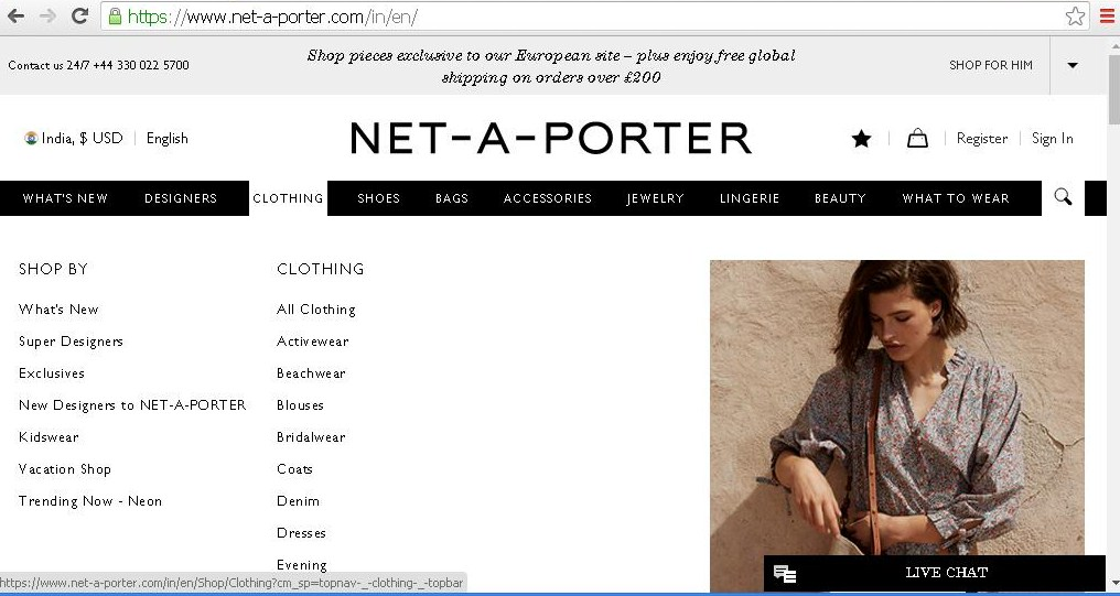 Dropdown of product categories for women s clothing.