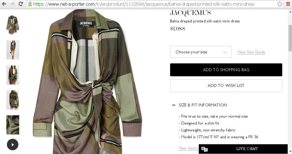Product specifications and price of a women s robe.