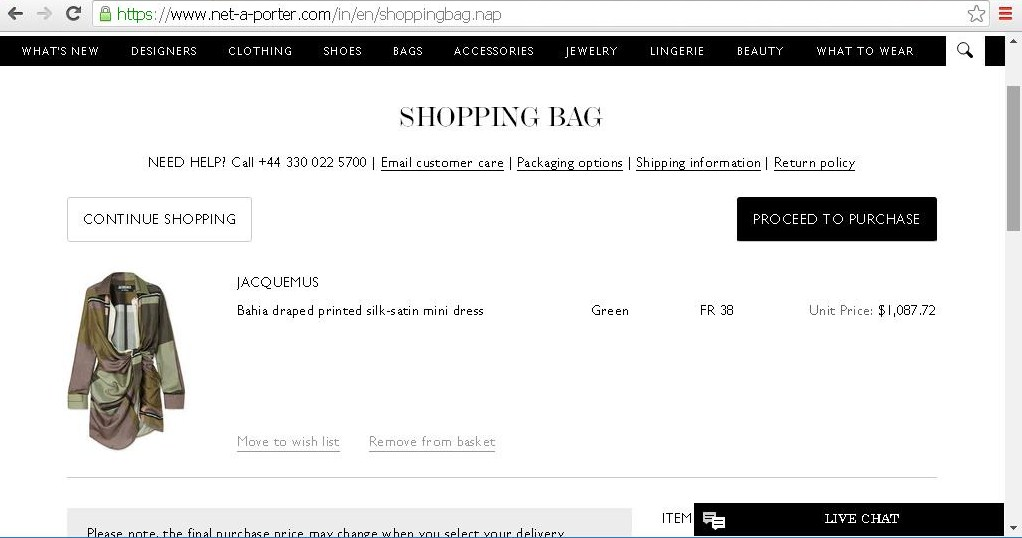 Online cart displaying details of an order.