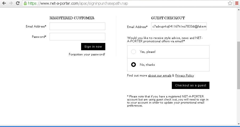 Option to checkout as a guest and receive NET-A-PORTER s email newsletter.