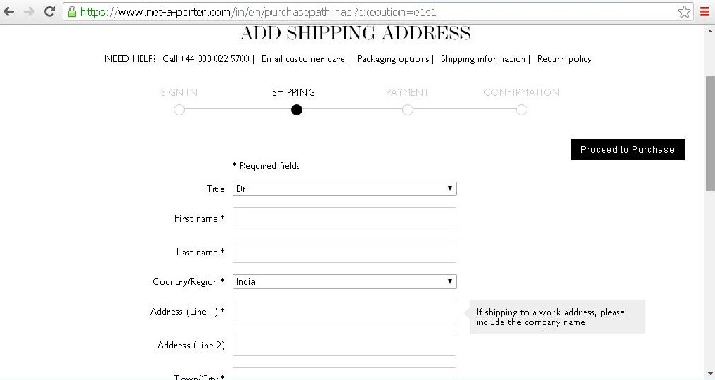 Page to enter personal details and shipping address.