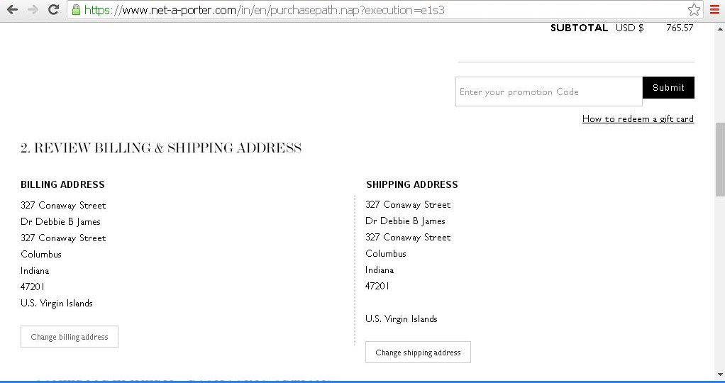 Page to review billing and shipping addresses.