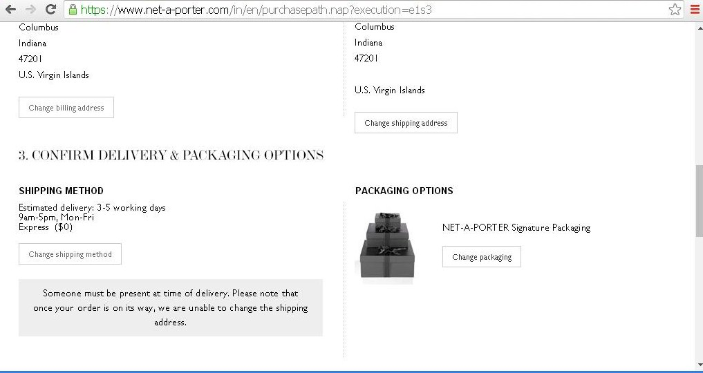 Page to confirm delivery and packaging options.