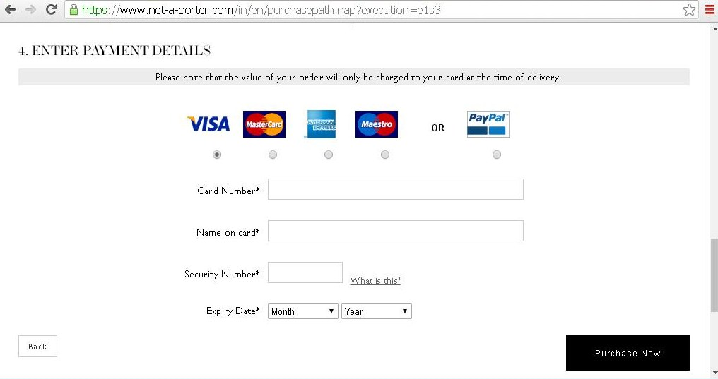 Page to enter card details for payment.