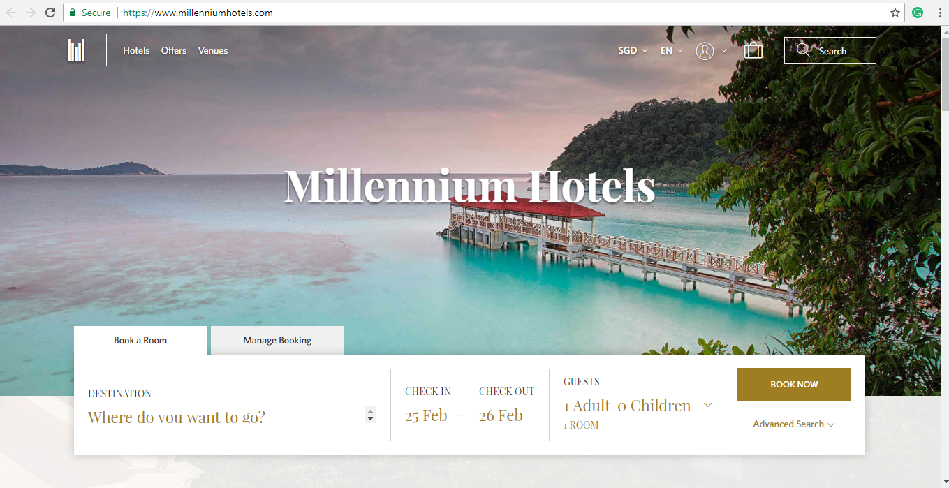 Search engine for hotels on the Millennium Hotels website.