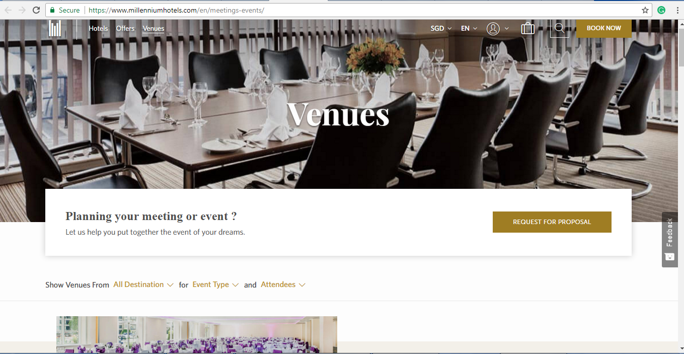 Online catalogue of venues from Millennium Hotels.