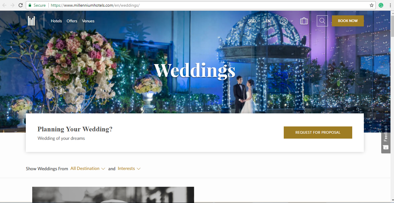 Online catalogue of weddings from Millennium Hotels.