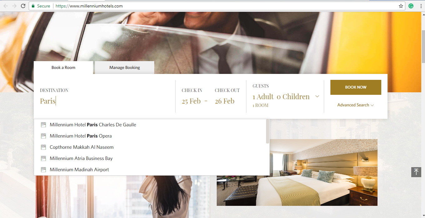 Search engine for hotel rooms in Paris.