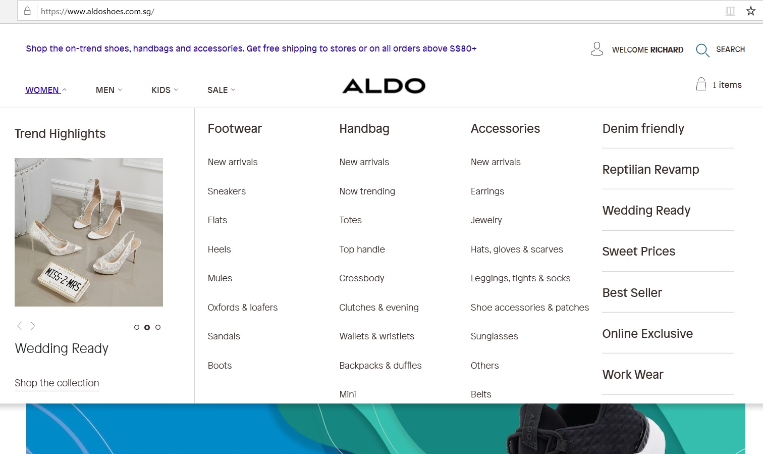 Aldo product category dropdown.