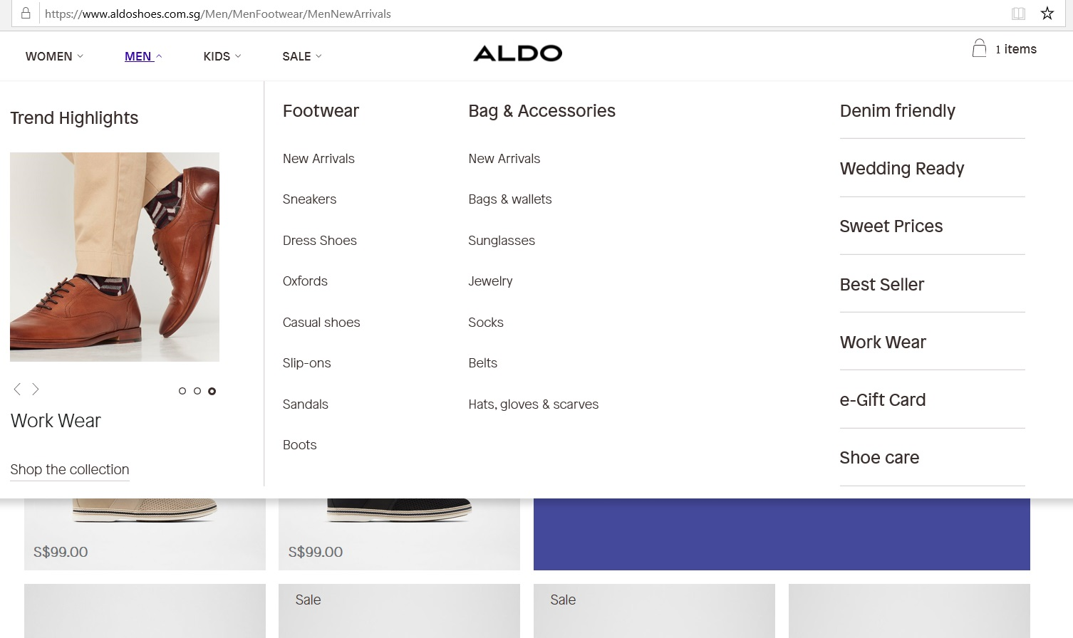 Aldo product category dropdown for Men.