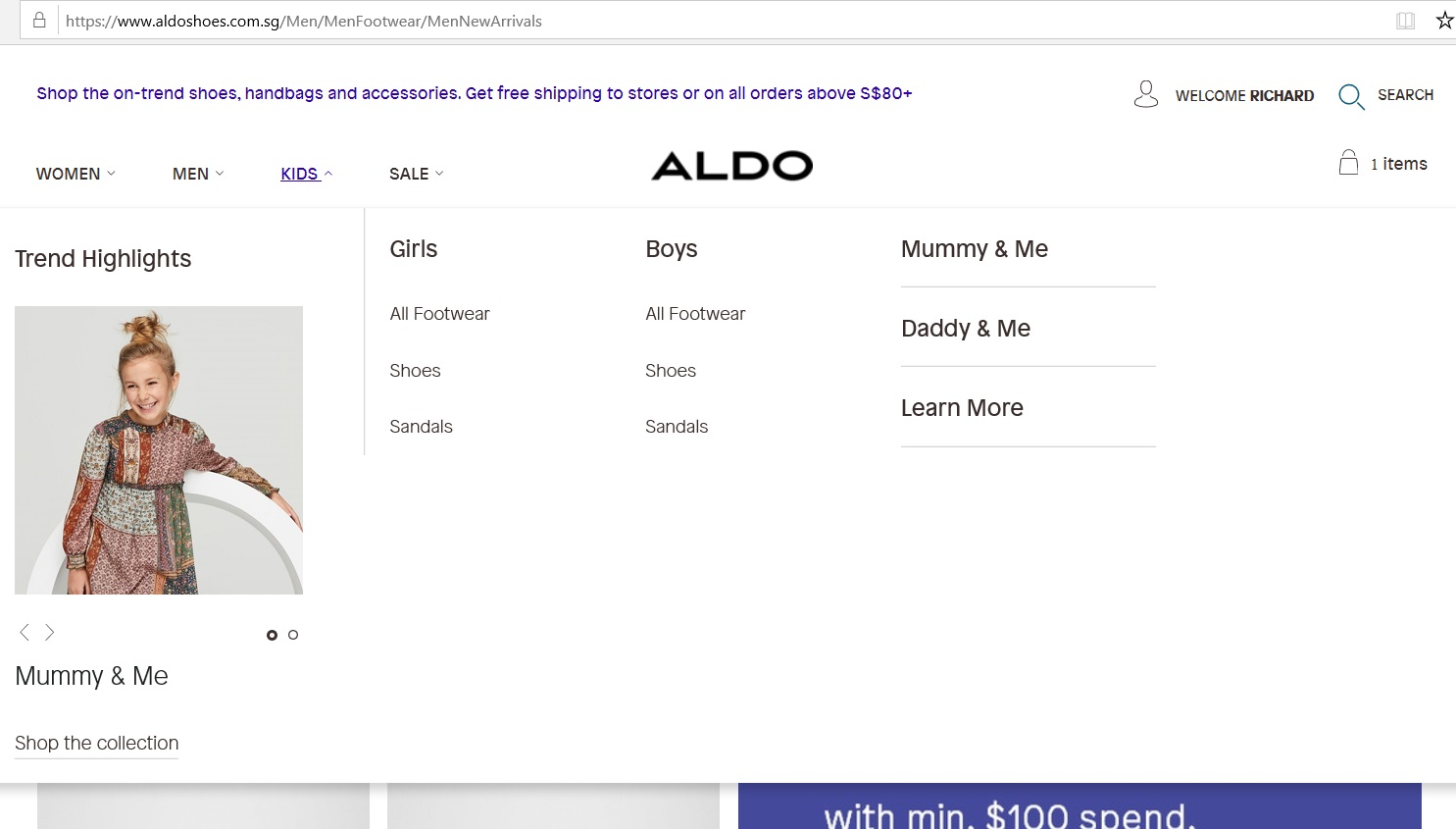 Aldo product category dropdown for Kids.