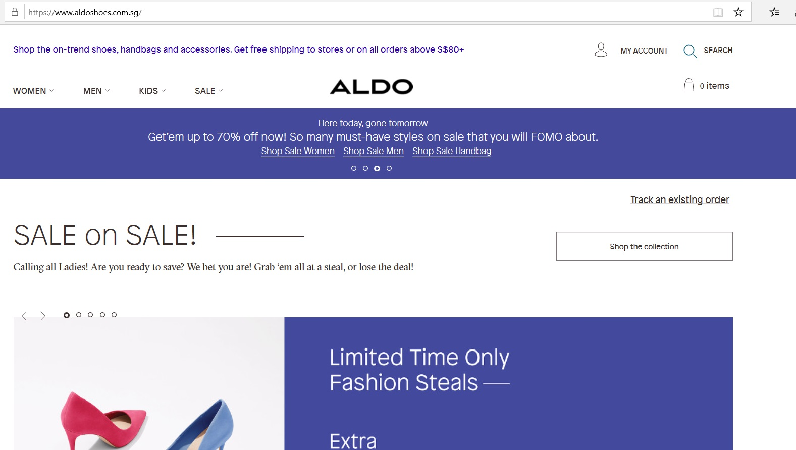 Aldo page for the latest sales.