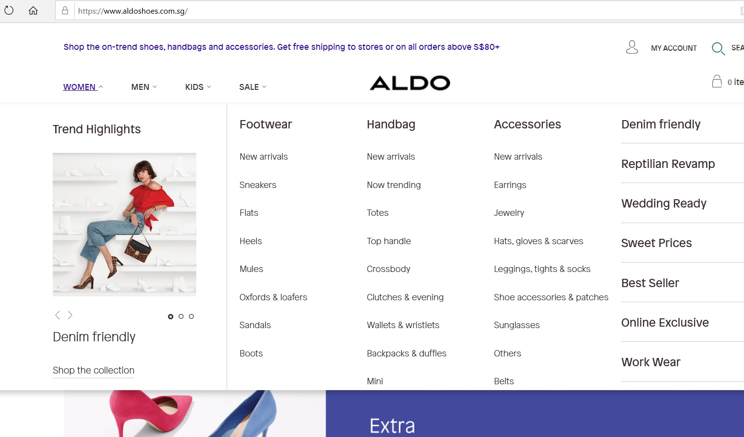 Aldo product category dropdown for Women.