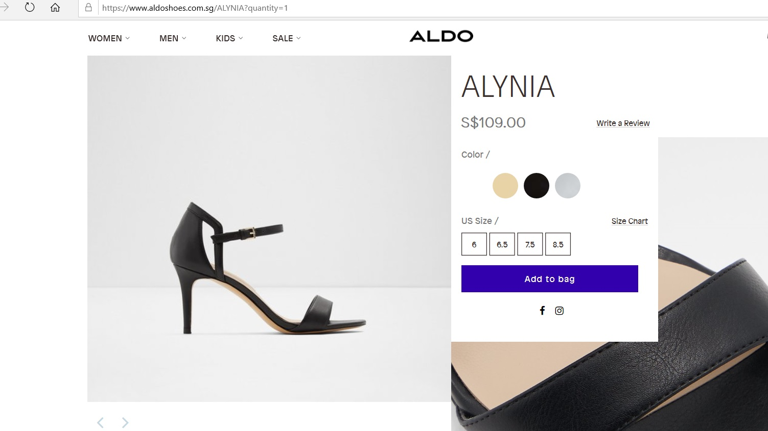 Product page for Alynia heels.