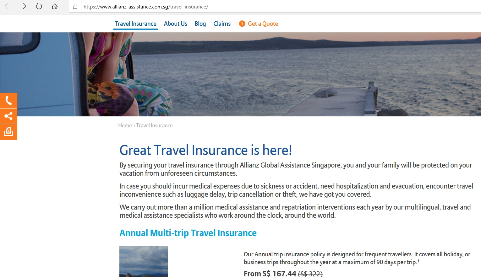 Allianz website homepage for travel insurance.