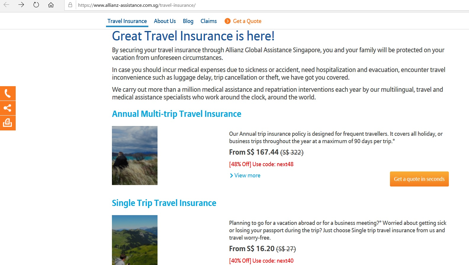 Listings for different Allianz travel insurance plans.