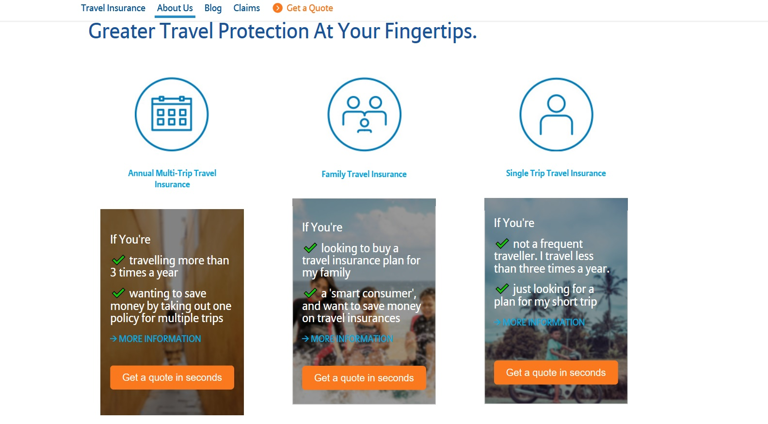 Option to choose between 3 Allianz travel insurance plans.