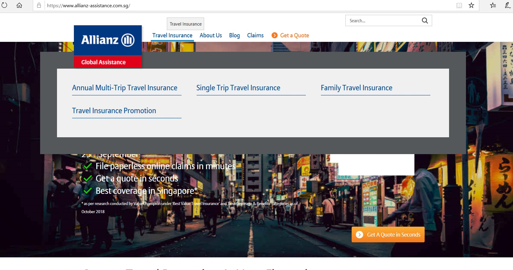 Dropdown of categories under Travel Insurance.