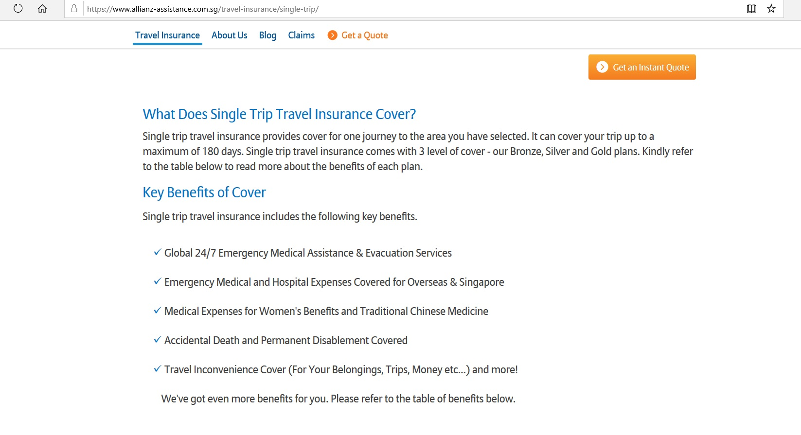 Details on the benefits of a Single Trip Travel Insurance Cover.
